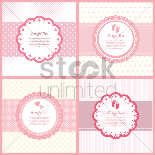 set of baby shower labels vector graphic