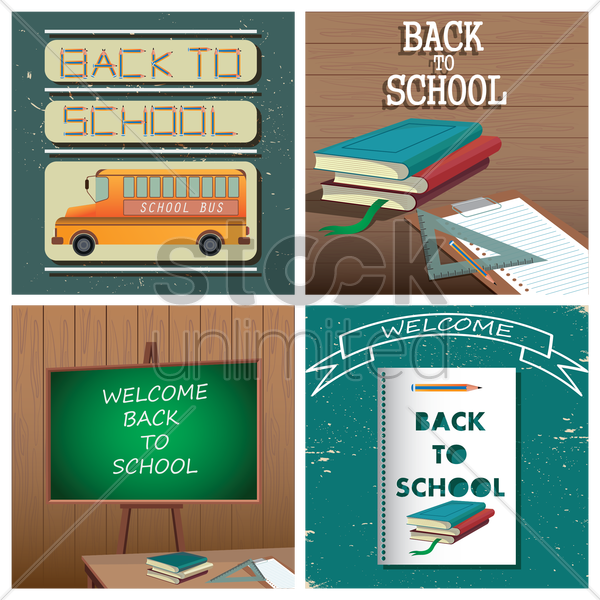 set of back to school wallpapers vector graphic