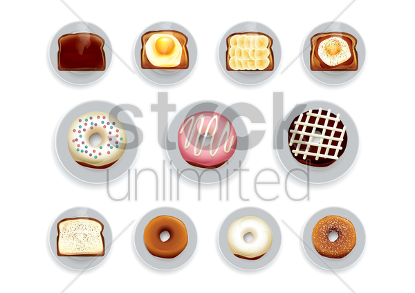 set of bakery items vector graphic