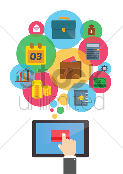 set of bank icons vector graphic
