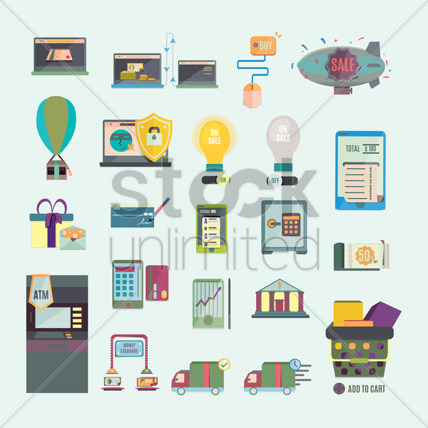 set of banking icons vector graphic
