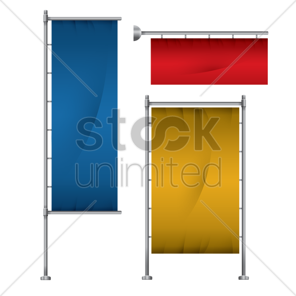 set of banner flag stand vector graphic
