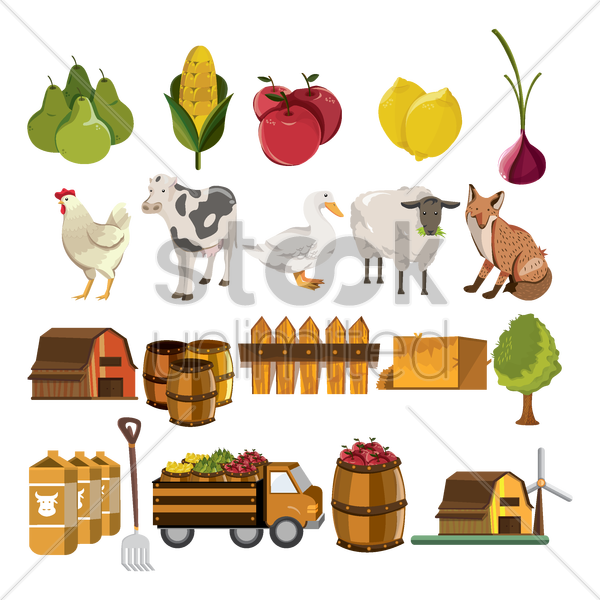 set of barn items vector graphic