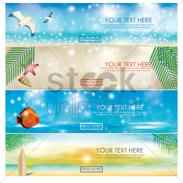 set of beach banners vector graphic