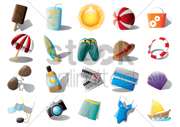 set of beach equipments vector graphic