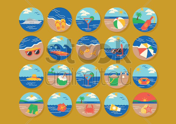 set of beach icons vector graphic