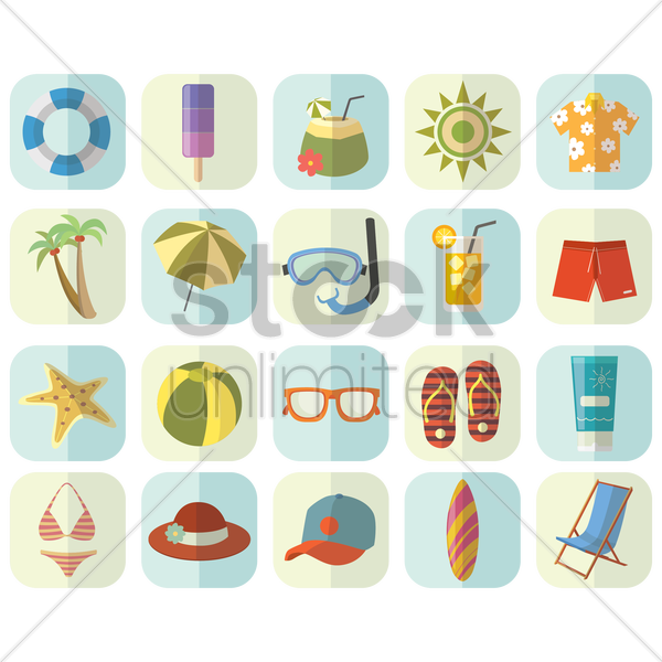 set of beach items vector graphic