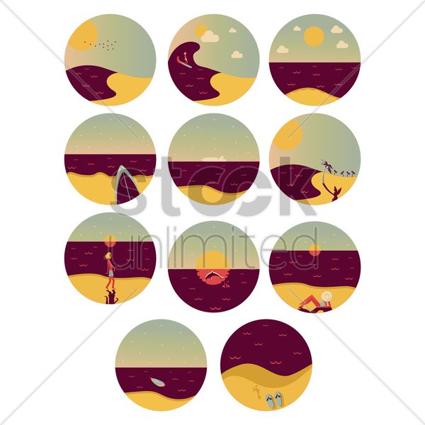 set of beach of icons vector graphic