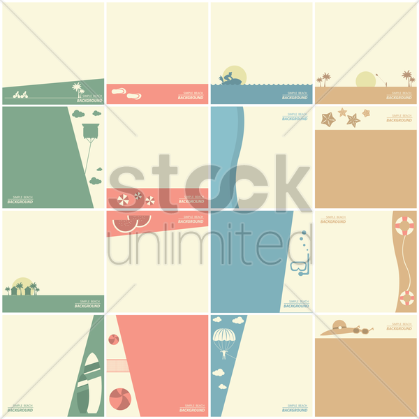 set of beach wallpapers vector graphic