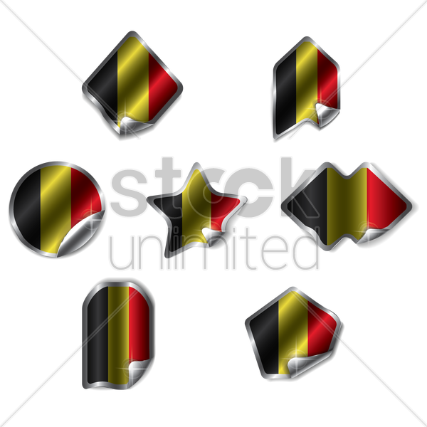 set of belgian labels vector graphic