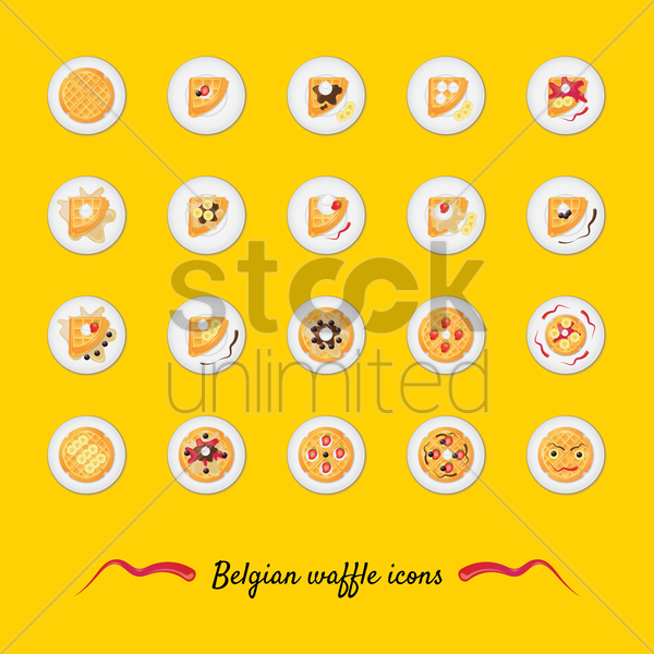 set of belgian waffle icons vector graphic