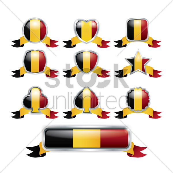 set of belgium badges vector graphic