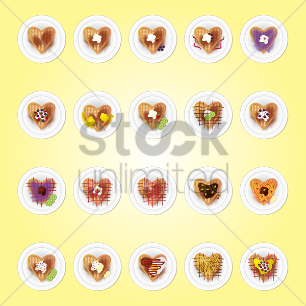set of belgium heart shaped waffle vector graphic