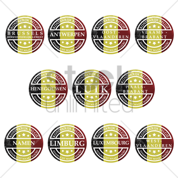 set of belgium state grunge rubber stamps vector graphic