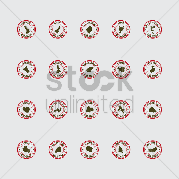 set of belgium state map stamps vector graphic