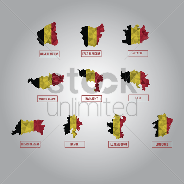 set of belgium state maps vector graphic