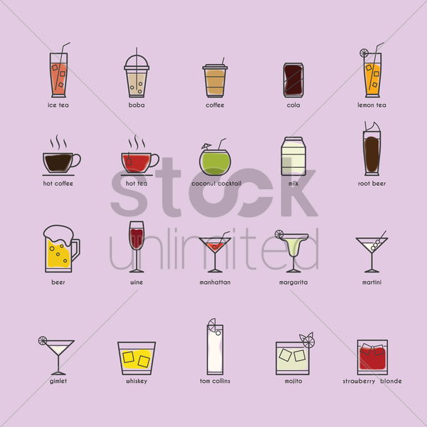 set of beverage icons vector graphic