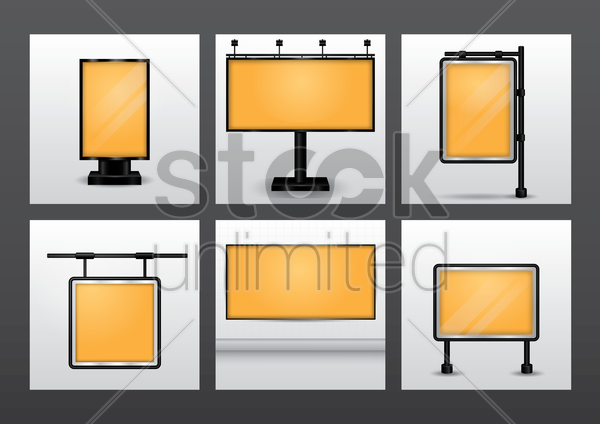 set of billboards vector graphic