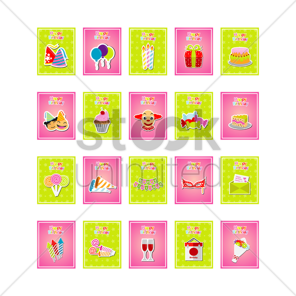 set of birthday cards vector graphic