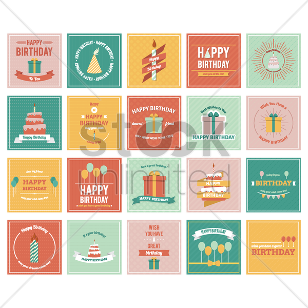 set of birthday greetings vector graphic