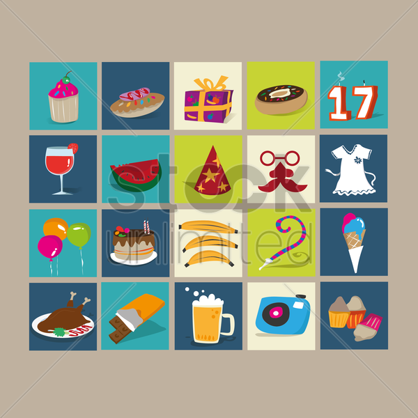 set of birthday icons vector graphic