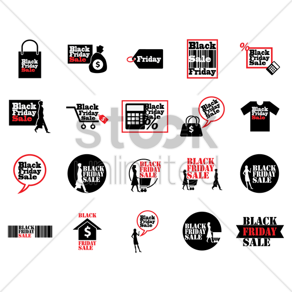 set of black friday sale icons vector graphic