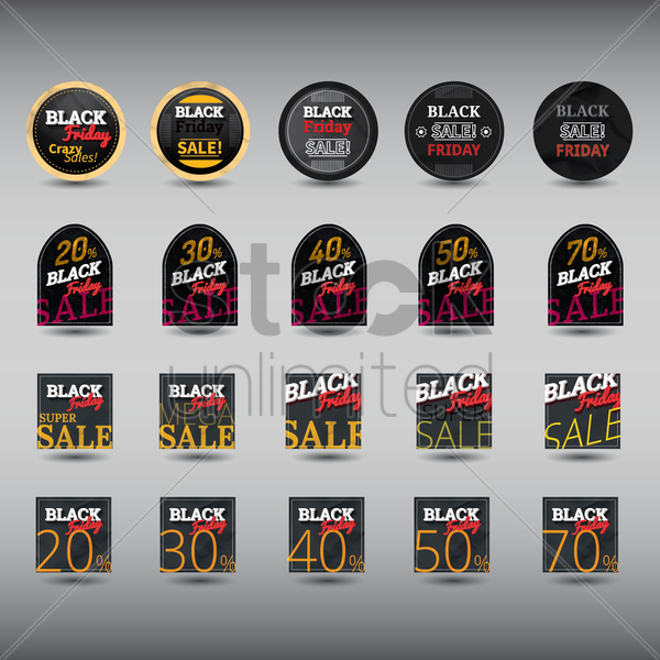 set of black friday sale labels vector graphic