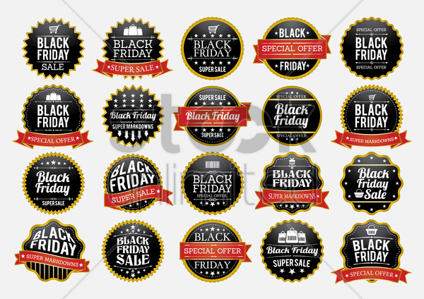 set of black friday sale stickers and labels vector graphic