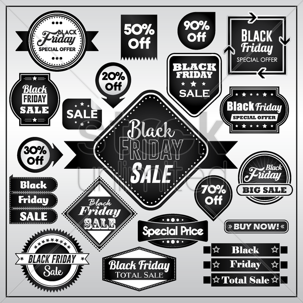 set of black friday sale stickers vector graphic