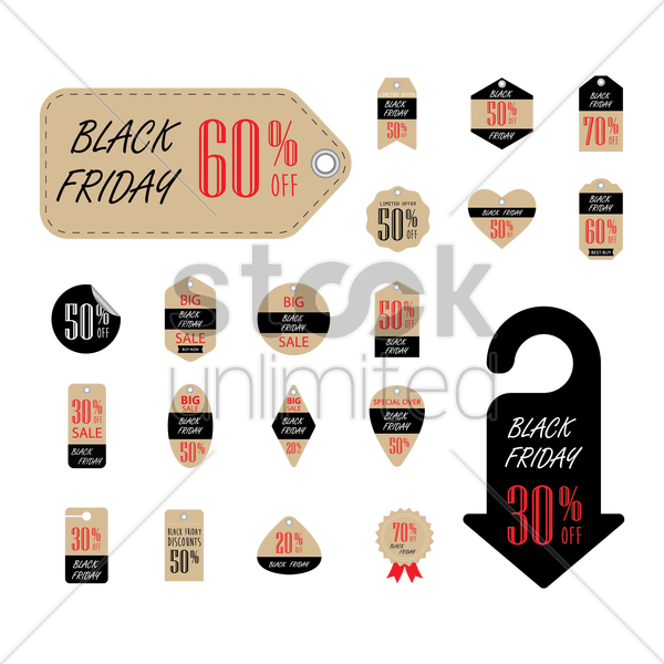 set of black friday sale tags and stickers vector graphic