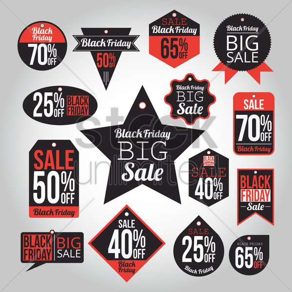 set of black friday sale tags vector graphic