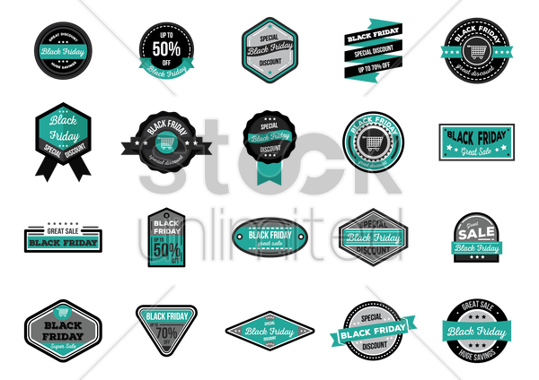 set of black friday sale vector graphic