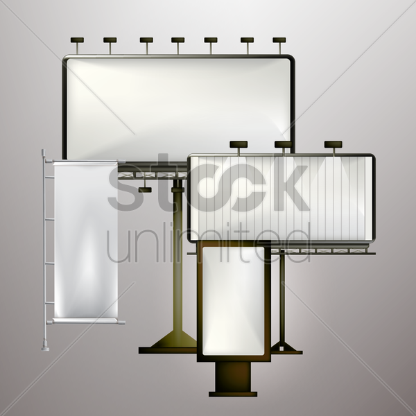 set of blank advertising billboards vector graphic
