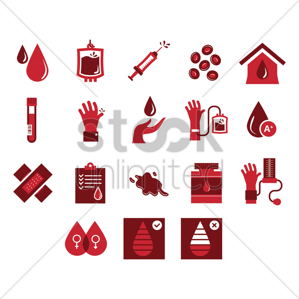 set of blood donation icons vector graphic