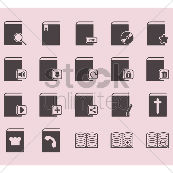 set of book icons vector graphic
