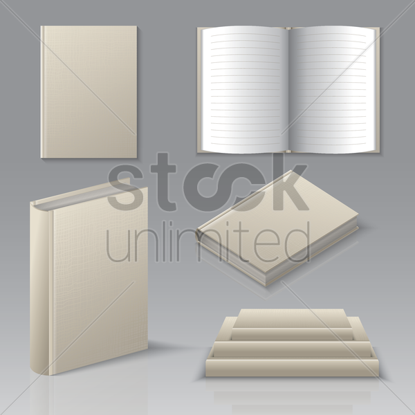 set of books icons vector graphic