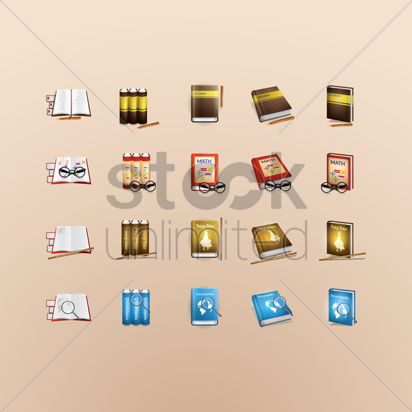 set of books vector graphic