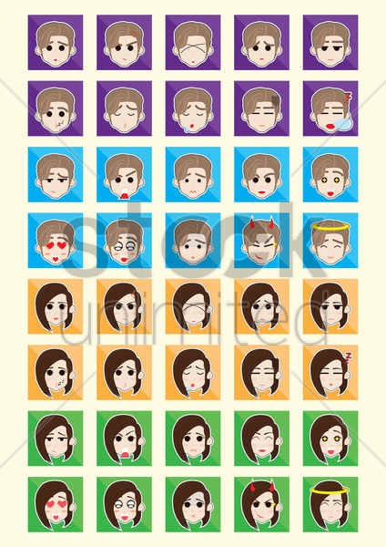 set of boy and girl emoticon icons vector graphic