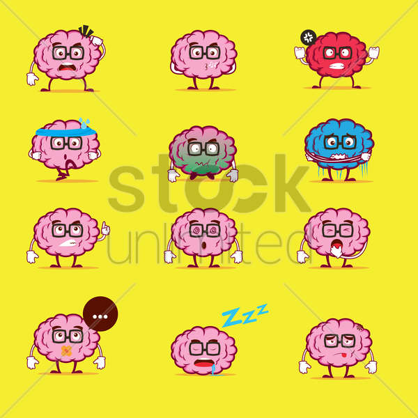 set of brain character vector graphic