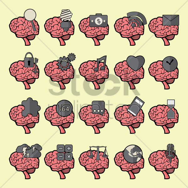 Free set of brain icons vector graphic
