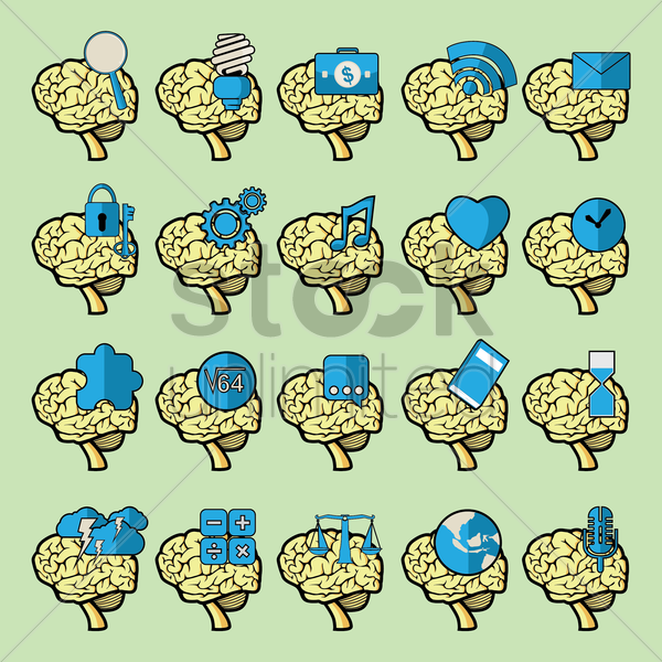 set of brain icons vector graphic