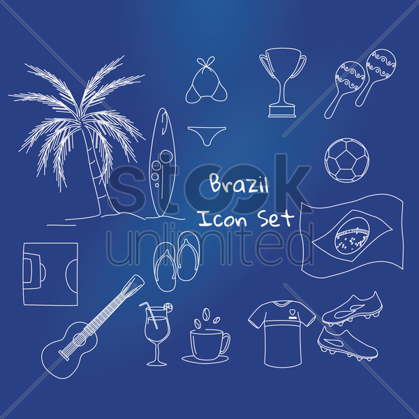 set of brazil icons vector graphic