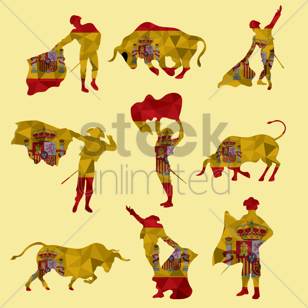 set of bullfighting icons vector graphic