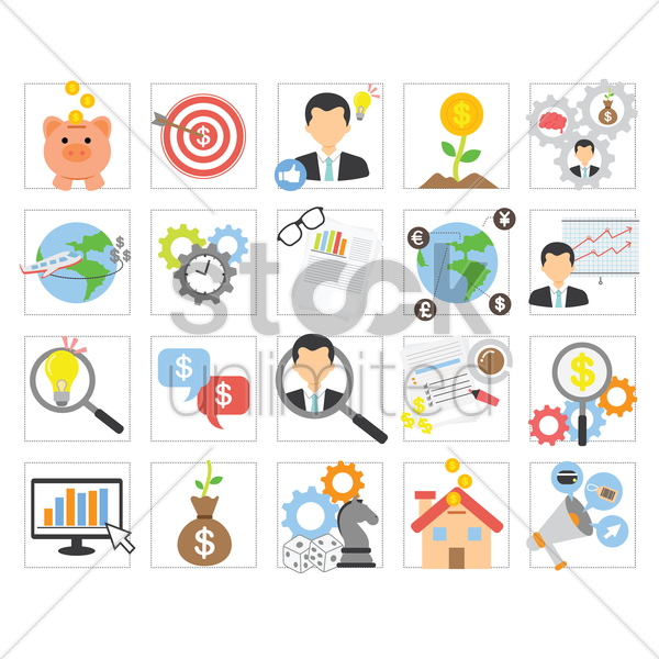 set of business concept icons vector graphic