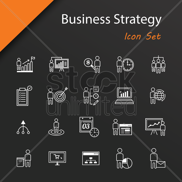 Free set of business strategy icons vector graphic