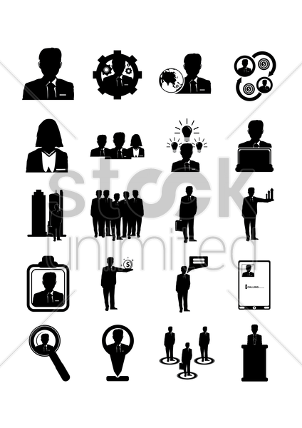 set of businessman icons vector graphic