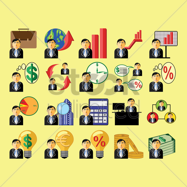 set of businessmen icons vector graphic