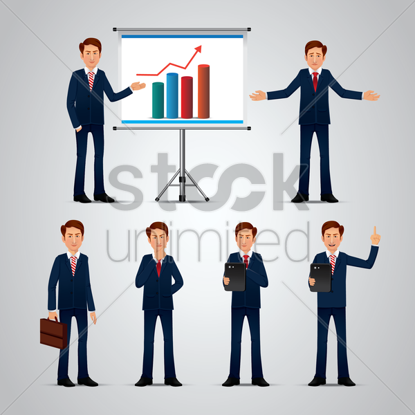 set of businessmen vector graphic
