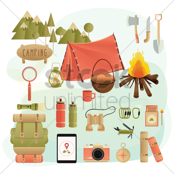 set of camping equipment vector graphic