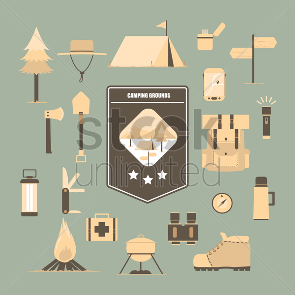set of camping icons vector graphic